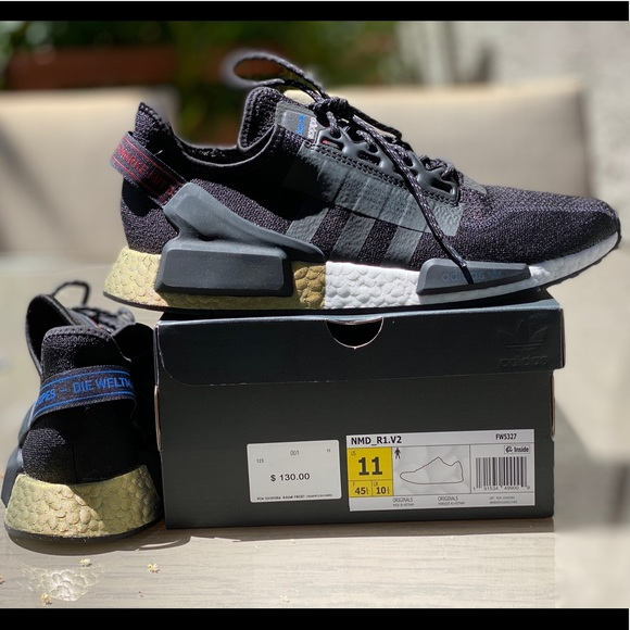 Adidas Shoes Mens Nmd R1 V2 Black Gold Metallic Sneaker Poshmark